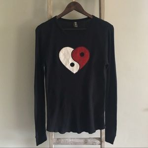Vintage Lucky Brand Yin Yang Heart Thermal Tee